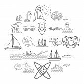 Aqua Icons Set. Outline Set Of 25 Aqua Icons For Web Isolated On White Background poster