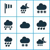Climate Icons Set With Winter, Cloud, Snowy And Other Deluge Elements. Isolated  Illustration Climat poster