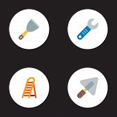 Set Of Industrial Icons Flat Style Symbols With Trowel, Putty Knife, Ladder And Other Icons For Your poster