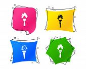 Torch Flame Icons. Fire Flaming Symbols. Hand Tool Which Provides Light Or Heat. Geometric Colorful  poster
