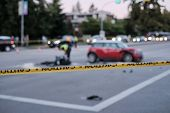 Accident Of Motorcycle And Car At Crossroad, Blurred poster