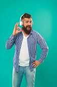 Happy Man Hipster Listen To Music. Mature Hipster With Beard. Bearded Man. Hair And Beard Care. Musi poster