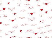 Seamless Pattern With Heart. Hand Drown Sketch Hearts With Wings And Love. Happy Valentines Day Back poster