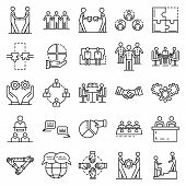 Cohesion Icon Set. Outline Set Of Cohesion Vector Icons For Web Design Isolated On White Background poster