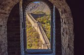 The Great Wall Of China. Great Wall Of China Is A Series Of Fortifications Made Of Stone, Brick poster