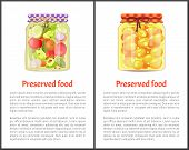 Preserved Food Info Posters, Fruits Or Vegetables. Apricots In Juice And Marinated Tomatoes With Cuc poster
