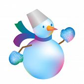 Christmas Snowman Isolated On White Blue Background. Winter  New Year Holiday Snowman. Cheerful Chri poster