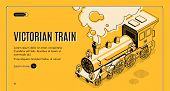 Railway Transport History Museum Isometric Vector Web Banner. Victorian Era Steam Locomotive Eruptin poster