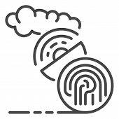 Fingerprint Satellite Signal Icon. Outline Fingerprint Satellite Signal Icon For Web Design Isolated poster