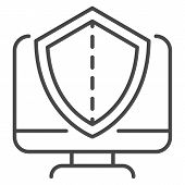 Secured Computer Icon. Outline Secured Computer Icon For Web Design Isolated On White Background poster