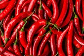 Red Hot Chilli Peppers Pattern Texture Background. Close Up. A Backdrop Ofred Hot Chilli Peppers poster