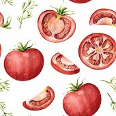 Seamless Pattern With Red Tomato - Whole, Half, Slices And Segments, Watercolor Illustration On Whit poster