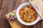 Khao Soi. Curried Noodle Soup Thailand Call Khao Soi. Khao Soi Thai Food Style. Noodle Curry Soup Or poster