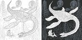 Coloring Page. Dinosaur Collection. Colouring Picture With Plesiosaurus Drawn In Zentangle Style. poster