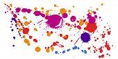 Graffiti Spray Stains Grunge Background Vector. Random Ink Splatter, Spray Blots, Dirty Spot Element poster