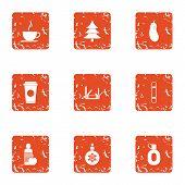 Christmas Spirit Icons Set. Grunge Set Of 9 Christmas Spirit Icons For Web Isolated On White Backgro poster