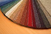 pic of carpet  - Color samples of carpet coverings in shop - JPG