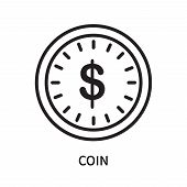 Coin Icon Isolated On White Background. Coin Icon Simple Sign. Coin Icon Trendy And Modern Symbol Fo poster