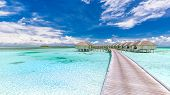 Panoramic Landscape Of Maldives Beach. Tropical Panorama, Luxury Water Villa Resort With Wooden Pier poster