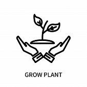 Grow Plant Icon Isolated On White Background. Grow Plant Icon Simple Sign. Grow Plant Icon Trendy An poster