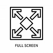 Full Screen Icon Isolated On White Background. Full Screen Icon Simple Sign. Full Screen Icon Trendy poster