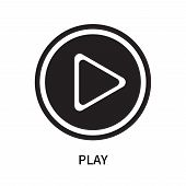 Play Icon Isolated On White Background. Play Icon Simple Sign. Play Icon Trendy And Modern Symbol Fo poster