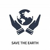 Save The Earth Icon Isolated On White Background. Save The Earth Icon Simple Sign. Save The Earth Ic poster