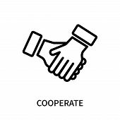 Cooperate Icon Isolated On White Background. Cooperate Icon Simple Sign. Cooperate Icon Trendy And M poster