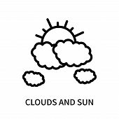 Clouds And Sun Icon Isolated On White Background. Clouds And Sun Icon Simple Sign. Clouds And Sun Ic poster