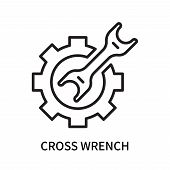 Cross Wrench Icon Isolated On White Background. Cross Wrench Icon Simple Sign. Cross Wrench Icon Tre poster