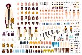 Stylish Young Girl Creation Set Or Diy Kit. Collection Of Body Parts, Trendy Clothes, Fashionable Ac poster