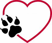 Heart And Paw, Wolf Paw And Dog Paw Logo poster