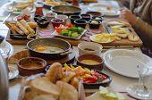 Turkish Breakfast, Tomatoes, Cucumber, Sausage,olive,honey,butter, Fried Egg,turkish Tea.turkish Ric poster