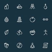 Meditation Icons Line Style Set With Prayer, Manuscript, Dumbbell And Other Water Elements. Isolated poster