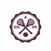 Lacrosse Vintage Badge, Emblem With Sticks And Ball, Eps 10 File, Easy To Edit poster