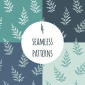 Fern Vector Seamless Pattern Set. Endless Pattern For Wallpaper, Pattern Fills, Web Page Background, poster