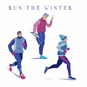 Set Of Young Men Warming Up, Running, Jogging Season, Flat Cartoon Vector Illustration Isolated On W poster