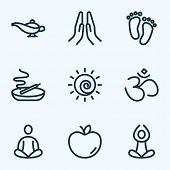 Spiritual Icons Line Style Set With Lamp, Hinduism, Prayer And Other Barefoot Elements. Isolated  Il poster