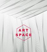 Vector Abstract Artistic Background For Design, Linear 3d Moire Texture, Inner Space Of A Room. Fant poster