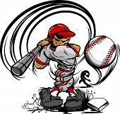 Baseball Player Cartoon Swinging Bat At Speeding Ball