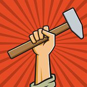 pic of communist symbol  - Vector Illustration of a fist holding a hammer in the style of Russian Constructivist propaganda posters - JPG