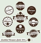 Vector Set: Vintage Basketball Champs Labels and Stickers
