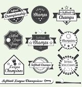 stock photo of softball  - Collection of retro style softball league champs labels - JPG