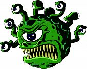 picture of all seeing eye  - Isolated vicious green beholder monster with a Cyclops type central eye and a head full of tentacles each bearing a smaller eye  - JPG