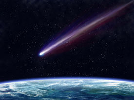 picture of comet  - Illustration of a comet flying through space close to the earth - JPG