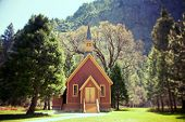 Yosemite Valley Chapel, California, USA. Lomography style effect processing
