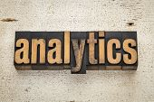 analytics word in vintage letterpress wood type on a grunge painted barn wood background