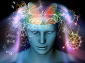 stock photo of surreal  - Design composed of cutout of male head and symbolic elements as a metaphor on the subject of human mind consciousness imagination science and creativity - JPG