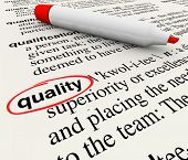 foto of glossary  - A dictionary definition with the word Quality circled by a red marker or pen - JPG