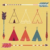 stock photo of teepee tent  - Teepee Tents and arrows  - JPG